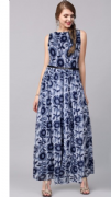Dark Blue Patterned Gown